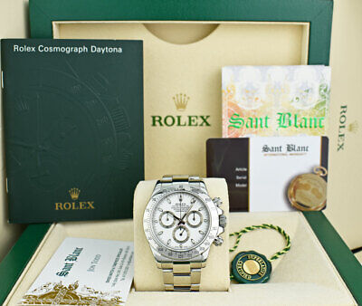 $ CDN25202.02 • Buy ROLEX Stainless Steel DAYTONA White Index Fat Clasp BOX BOOKS 116520 SANT BLANC