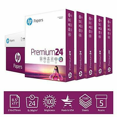 $49.80 • Buy HP Printer Paper 8.5x11 Premium 24 Lb 5 Ream Case 2500 Sheets 100 Bright