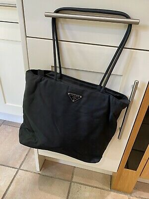 Vintage 1990's Prada Nylon Shoulder Bag / Tote Shopper In Black With Zip • 29.99£