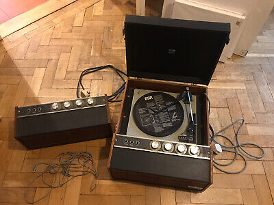 Vintage HMV Record Player And Speaker, VGC, Full Case Wood, Retro Music 2042 • 200£