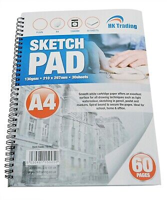 A4 Sketch Book Draw Pad Drawing Colouring Art Craft Painting 60pages • 2.99£