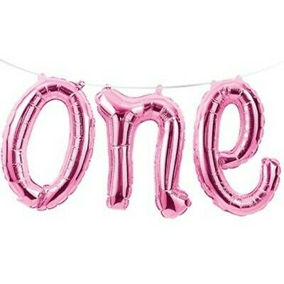 AU13.99 • Buy 1st Birthday Party Supplies One Foil Balloon Banner Girl Pink First Decoration