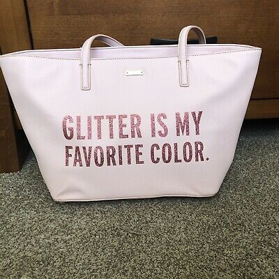 $ CDN198 • Buy RARE Kate Spade Leather Pink Glitter Tote Bag