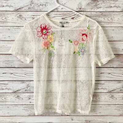 $16.99 • Buy ZARA Women's Sheer Lace Floral Embroidery Top Short Sleeve White NWT NEW - Small