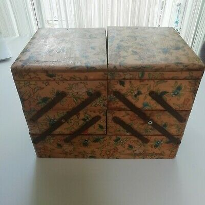 Vintage Art Deco Pyrography Cantilever Painted Floral Box Jewellery Trinket  • 32£