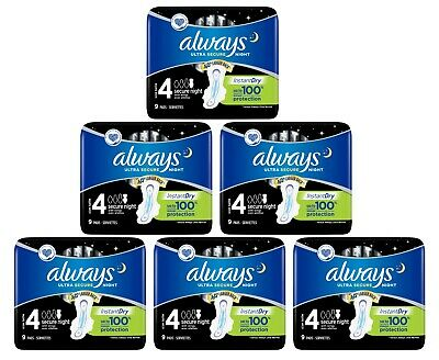 £12.75 • Buy Always Ultra Secure Night Sanitary Pads - 6 XPacks Of 9 Pads 54 Pads In Total