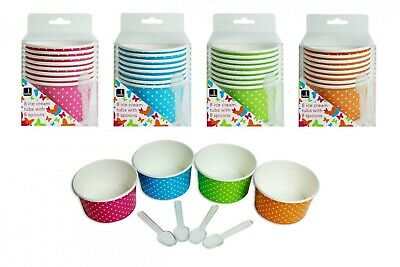 8 Ice Cream Tubs 4 Asst Colours With Plastic Spoons Summer Party Bbq Picnic • 4.49£