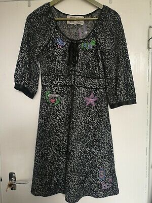 £8.50 • Buy LAURA For TOPSHOP S Black Grey Leopard Embroidered Dress Midi Used VGC