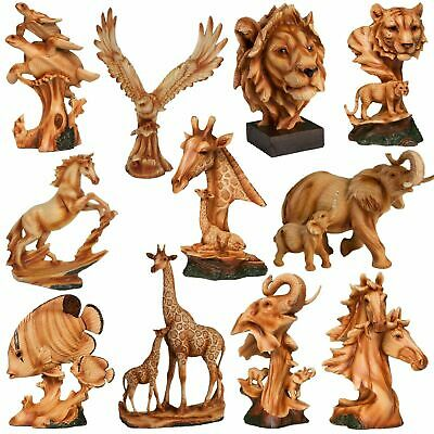 Naturecraft Wood Effect Resin Animal Statue Ornament-Assorted Designs-you Choose • 19.95£