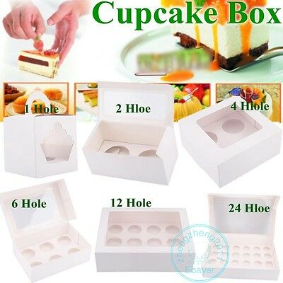 AU17.08 • Buy Cupcake Box Boxes 1 Hole 2 Hole 4 Hole 6 Hole 12 Hole 24 Hole Party Xmas Gift