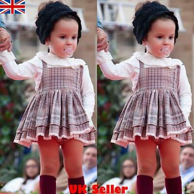 Kids Baby Girls Long Sleeve Plaid Checked Dress Casual Party Wedding Dresses Top • 6.19£