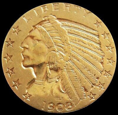 $ CDN1205.55 • Buy 1908 S Gold Us $5 Indian Head Half Eagle Coin Condition Extremely Fine