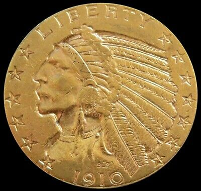 $ CDN937.65 • Buy 1910 S Gold Us $5 Indian Head Half Eagle Coin Condition About Uncirculated