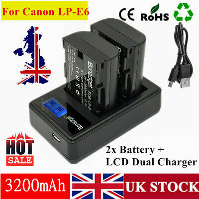 2X Battery+USB LCD Charger For Canon LP-E6 LP-E6N EOS 70D 7D 60D 5D Mark II III • 18.59£