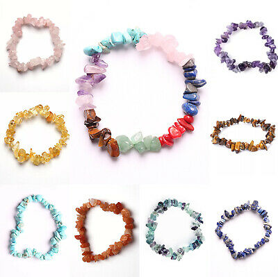 7 Chakra Reiki Natural Stone Chip Bracelet Stretch Gemstone Beaded Healing Gift • 2.99£