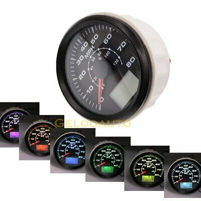 85mm Waterproof Car Boat GPS Speedometer Odometer 0-80MPH 0-120KM/H 8 Colors LED • 62.99£