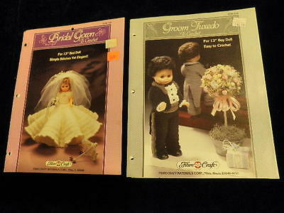 Bride + Groom To Crochet Pattern Leaflet For 13  Bed Doll Bridal Gown Tuxedo R78 • 5.36£