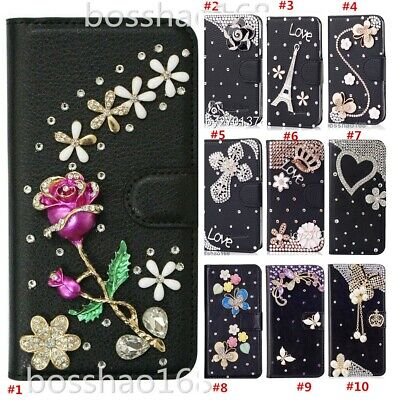AU21.43 • Buy Bling Diamonds Leather Wallet Stand Phone Case With Crystals Strap For OPPO1