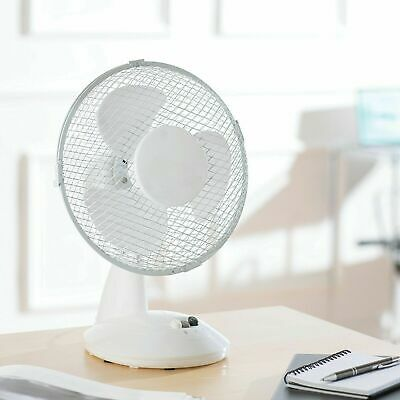 Daewoo 9  Desk Fan Table Top 2 Speed Oscillating Rotating Home Office White • 12.99£