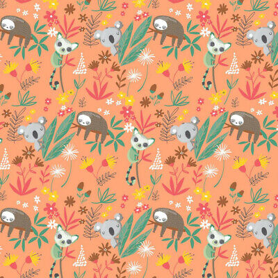 £8 • Buy Australian Themed Peach Soft Sweat Jersey Fabric, 1.4m Wide, By The 0.5m