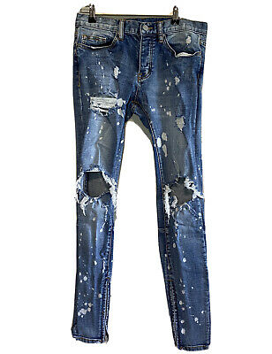 $ CDN52.36 • Buy MNML M1 Stretch Denim Jeans 30 Bleach Distress Busted Knee Zip Ankle