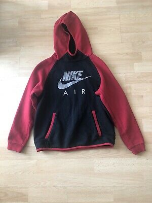 Boys Nike Air Black & Red Hoodie Track Suit Top  Aged 10-12 Years Old • 20£