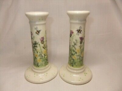 Rare Jenny Bell Durham Hand Painted Bumble Bee Floral Pair Of Candlesticks • 99.99£