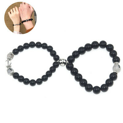 Match Relation Promise Couples Hers His Bracelet Magnet Black Rutilated Quartz • 5.69£