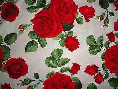 Cotton Fabric, Cabbage Roses, Cotton Material, Red Roses, Tiny Roses, Quilting,  • 10.73£