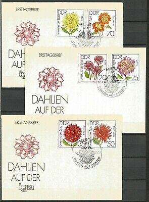 £1.50 • Buy Germany (East) DDR GDR 1979 FDC (3) Int Garden Exhibition Flowers Dahlias