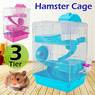 3 Storey Hamster Cage Pet Mice Rat Gerbil Play House - Water Bottle Wheel Ladder • 10.99£