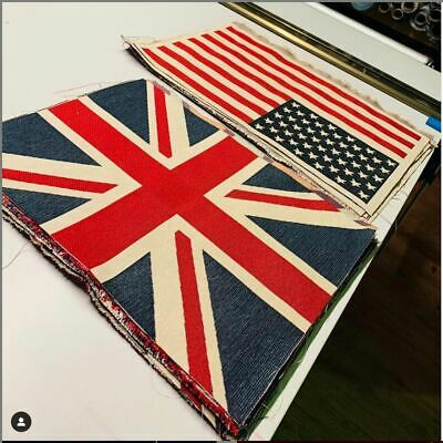 Union Jack Flag Retro Linen Look Heavy Jacquard Gobelin Panel Fabric UK Banner • 7.99£