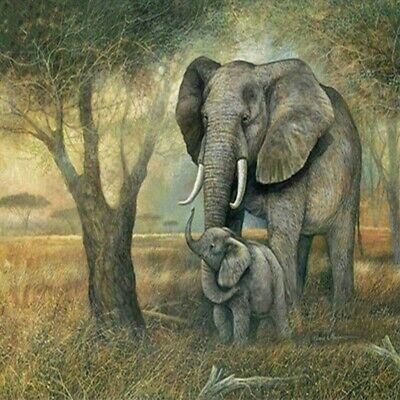 AU16.38 • Buy 5D Full Drill Diamond Painting Cross Stitch Kits Embroidery Elephant Arts Decors