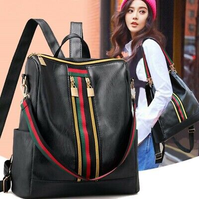 Women's Ladies Leather Backpack Anti-Theft Rucksack Travel Shoulder Bag Satchel • 6.89£