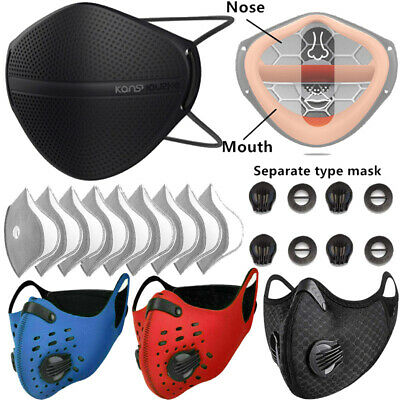 AU21 • Buy Separate Mouth Nose Mask/Cycling Face Shield With Carbon Filter Pad/Purify Valve