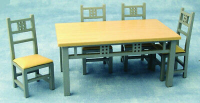 Dolls House Miniature 1/12th Scale Modern Dining Table & 4 Chairs DF917 • 19.99£