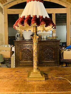 Solid Brass & Faux Marble Corinthian Column Table Lamp, Early 20th Century • 180£
