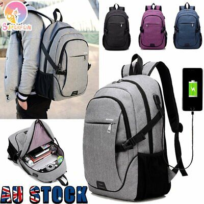 AU25.99 • Buy Mens Travel Shoulder Notebook School Bag Laptop Backpack With USB Charging Port