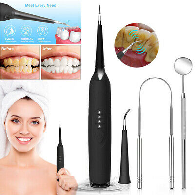 Scaler Tartar Calculus Plaque Remover Dental Electric Sonic Tooth Stains Tool UK • 13.99£
