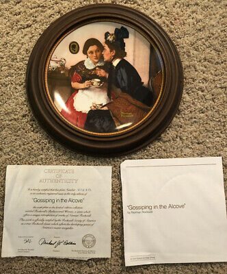 $ CDN4.37 • Buy Norman Rockwell Collector Plate Gossiping In The Alcove Rediscovered Women W COA