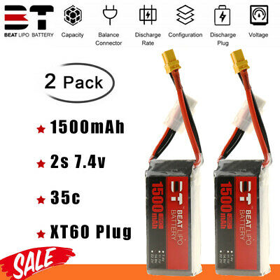 $ CDN31.62 • Buy 2PCS 2S 7.4V 1500mAh 35C Lipo Battery XT60 Plug For FPV RC Car Airplane Boat