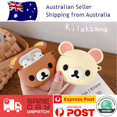 AU19.99 • Buy Cute Rilakkuma Bear Brown Kawaii Apple Case Cute Earphone Apple Airpod 1/2 Cover