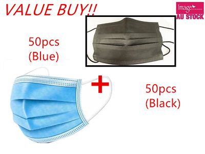 AU32.99 • Buy 50 Black + 50 Blue Face Mask 3 Layer Mouth Masks Anti Bacterial Disposable Value