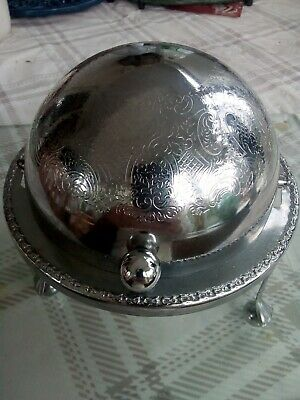 Vintage Silver Plate Rotating Top Butter / Caviar Dish Globe Dome English • 15£