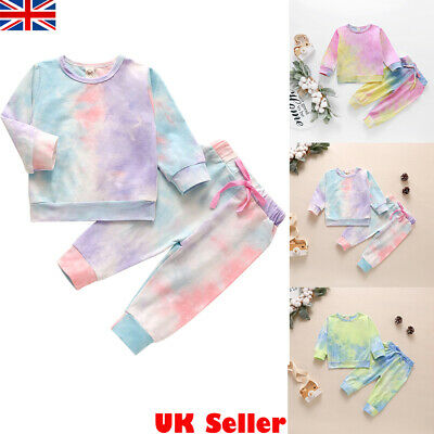 Baby Infants Girls Tie-dye T-shirt Tops Pants Casual Tracksuit Outfits Clothes • 9.59£