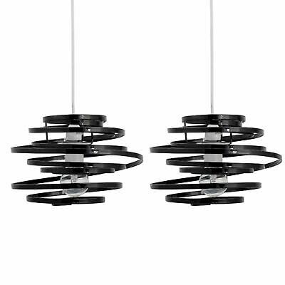 Set Of 2 Modern Black Metal Swirl Easy Fit Ceiling Light Shade Pendants • 21.99£