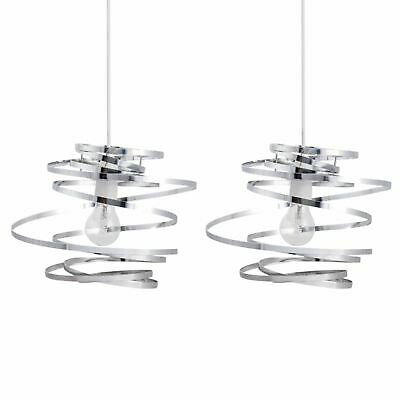 Set Of 2 Modern Chrome Metal Swirl Easy Fit Ceiling Light Shade Pendants • 24.99£