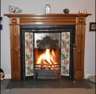Victorian Style Reproduction Cast Iron Fireplace And Surround With Ornate Tiles  • 75£