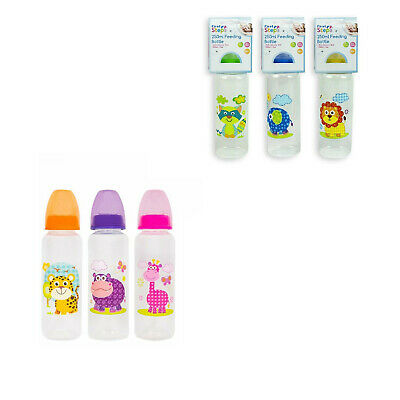 2 X First Steps 250ml Baby Feeding Bottles BPA Free Use From 0+Months 6 Designs • 7.99£