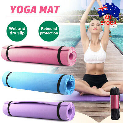 AU15.69 • Buy EVA Yoga Mat Non Slip Thick Exercise Pilate Fitness Gym 173x61cm Carry Strap AU